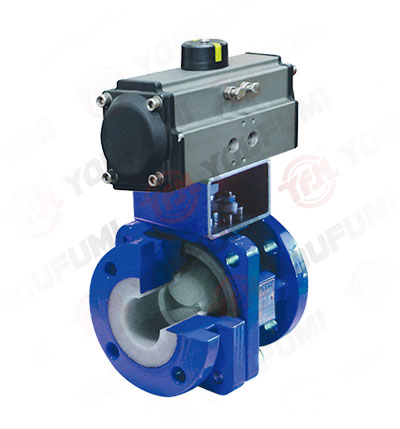 PFA Lined V port Ball Valve