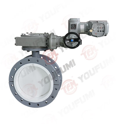 PTFE Lined Flange Type Control Butterfly Valve